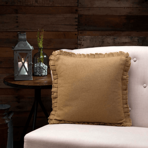 "Burlap Natural Fringed Pillow 16"" Filled"