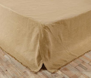 Burlap Natural Fringed Bed Skirt in 3 SIZES