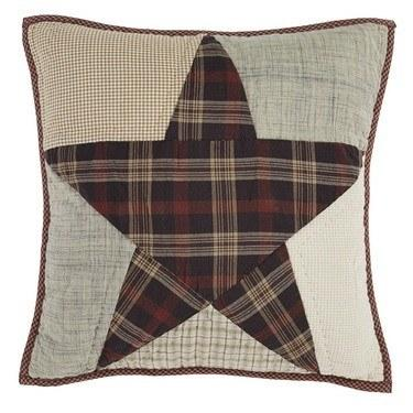 "Abilene Star Quilted Pillow 16"" Filled - Primitive Star Quilt Shop - 1"