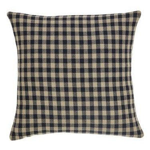 "Black Check Fabric Pillow 16"" Filled"