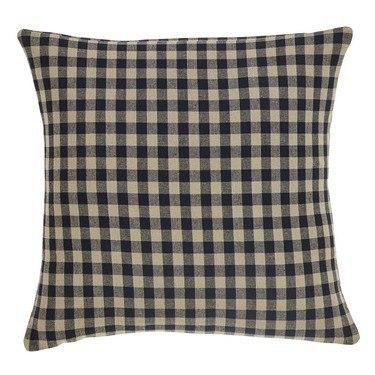 "Black Check Fabric Pillow 16"" Filled - Primitive Star Quilt Shop - 1"