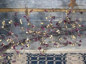 Burgundy and Gold Pip Berry and Star Garland 40""