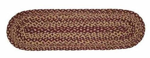 "Burgundy and Tan Oval Braided Stair Tread Latex Backed 8.5x27"" - Primitive Star Quilt Shop"