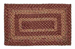 "Burgundy and Tan Rectangle Braided Rug 20x30""- with Pad"