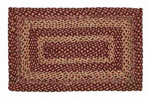 "Burgundy and Tan Rectangle Braided Rug 24x36"" - Primitive Star Quilt Shop"