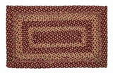 "Burgundy and Tan Rectangle Braided Rug 24x36"" - with Pad - Primitive Star Quilt Shop"