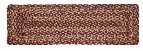"Burgundy and Tan Rectangle Braided Stair Tread Latex Backed 8.5x27"" - Primitive Star Quilt Shop"