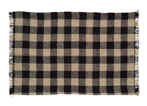 Burlap Black Check Fringed Placemat  - Set of 2 - Primitive Star Quilt Shop