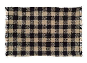 Burlap Black Check Fringed Placemat  - Set of 6