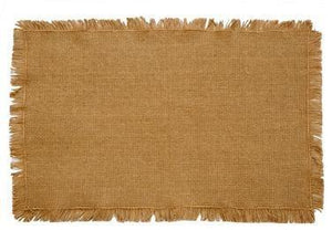 Burlap Natural Fringed Placemat - Set of 6