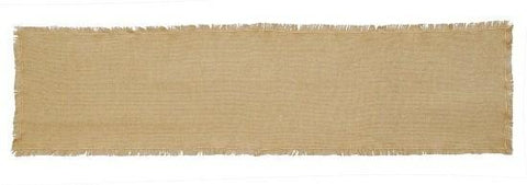 "Burlap Natural Fringed Runner 13x72"" - Primitive Star Quilt Shop"