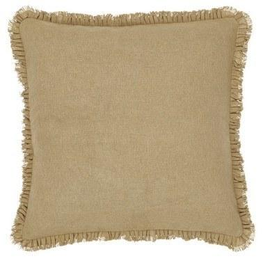 "Burlap Natural Ruffled Euro Sham 26x26"" - Primitive Star Quilt Shop - 1"