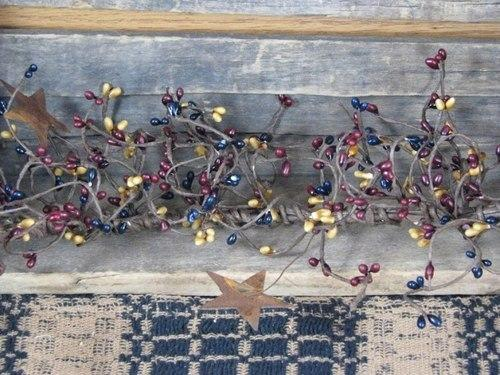 "Colonial Pip Berry and Star Garland - 40"" - Primitive Star Quilt Shop"