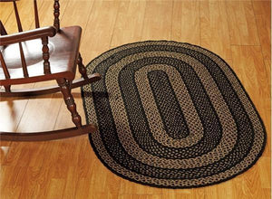 Farmhouse Star Oval Braided Rug 36x60""