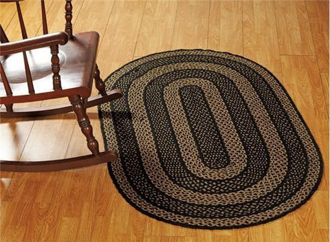 "Farmhouse Star Oval Braided Rug 36x60"" - Primitive Star Quilt Shop"