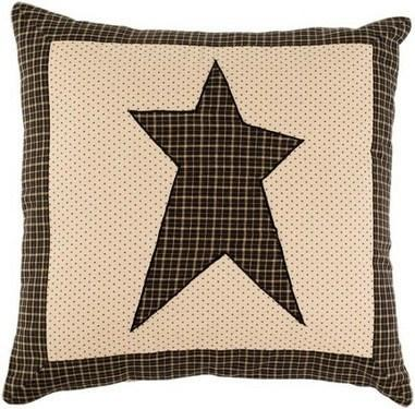 "Kettle Grove Star Fabric Pillow 16"" Filled - Primitive Star Quilt Shop - 1"