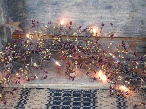 "Lighted Burgundy and Gold Pip Berry and Star Garland - 40"" - Primitive Star Quilt Shop"