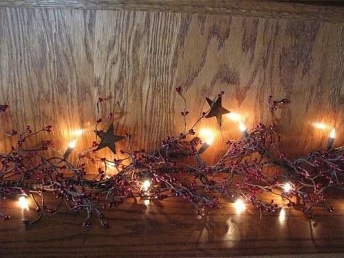 "Lighted Burgundy Pip Berry and Star Garland - 40"" - Primitive Star Quilt Shop"