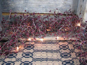 Lighted Burgundy Pip Berry Garland - 4ft
