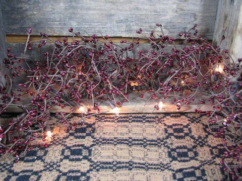 Lighted Burgundy Pip Berry Garland - 4ft - Primitive Star Quilt Shop - 1