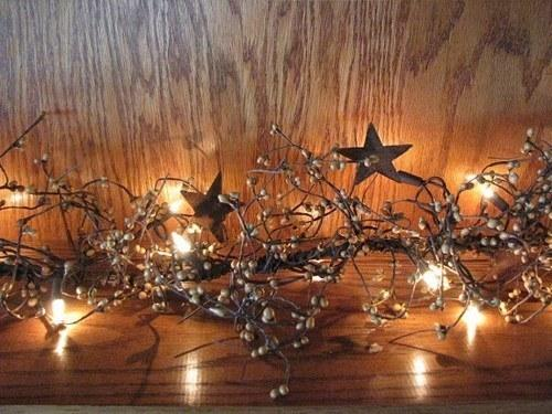 "Lighted Gold Pip Berry and Star Garland - 40"" - Primitive Star Quilt Shop"
