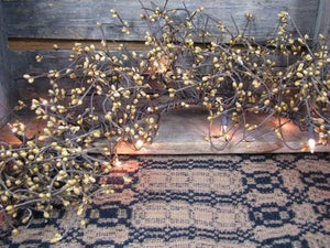 Lighted Gold Pip Berry Garland 4'