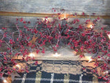 "Lighted Red and Burgundy Pip Berry and Star Garland 40"" - Primitive Star Quilt Shop"