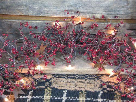 "Lighted Red and Burgundy Pip Berry and Star Garland - 40"" - Primitive Star Quilt Shop"