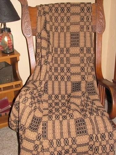 Primitive Black And Mustard Woven Coverlet Throw