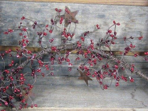 Red and Burgundy Pip Berry and Star Garland 40""