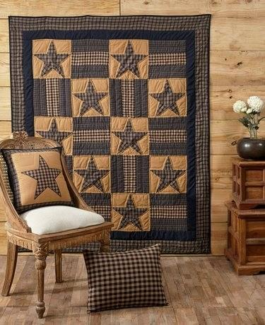 Teton Star Quilted Throw - Primitive Star Quilt Shop - 1