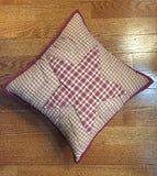 "Colonial Star Burgundy Quilted Pillow 16"" Filled - Primitive Star Quilt Shop"