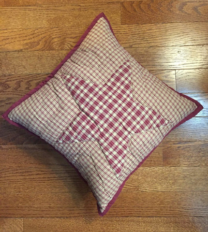 "Colonial Star Burgundy Quilted Pillow 16"" Filled"