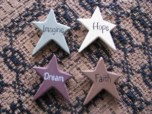 Colorful Wood Star Magnets - Set of 4