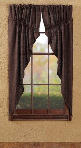 Burlap Chocolate Prairie Curtains - Primitive Star Quilt Shop