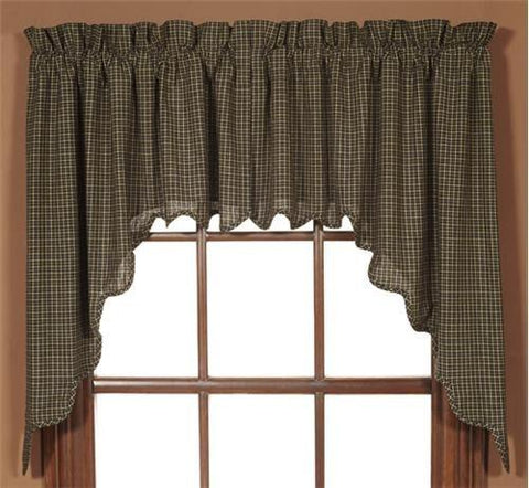 Kettle Grove Scalloped Lined Swag Curtains - Primitive Star Quilt Shop - 1