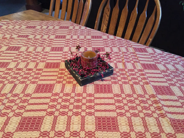 primitive cranberry and tan woven coverlet table cloth 52x52 rh primitivestarquiltshop com