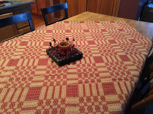 Primitive Cranberry and Tan Woven Coverlet Table Cloth 52x52""