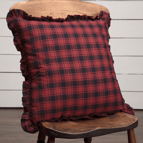 "Cumberland Plaid Fabric Pillow 18"" Filled"