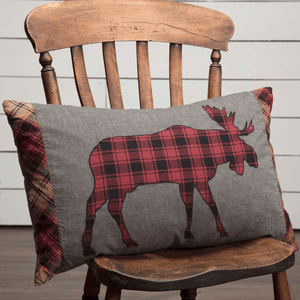 "Cumberland Moose Applique Pillow 14x22"" Filled"