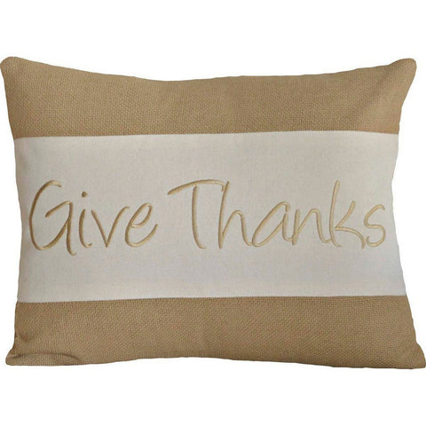 "Give Thanks Pillow 14x18"" Filled"