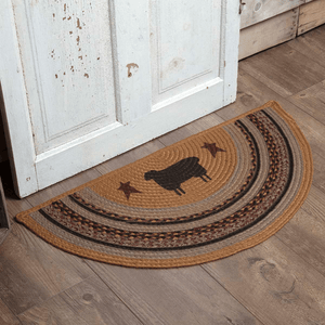 Heritage Farms Sheep Half Circle Braided Rug 16.5x33""