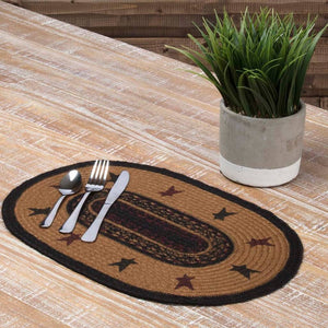 "Heritage Farms Star Braided Placemat 12x18"" - Set of 6"