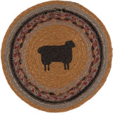 "Heritage Farms Sheep Braided Trivet 8"" - Primitive Star Quilt Shop"