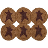 "Heritage Farms Star Braided Coaster 4"" - Set of 6 - Primitive Star Quilt Shop"