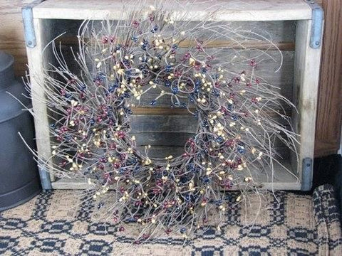 "16"" Twig Wreath with Colonial Berries - Primitive Star Quilt Shop - 1"