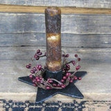 Iron Star Holder with Ivory Drip Candle - Primitive Star Quilt Shop