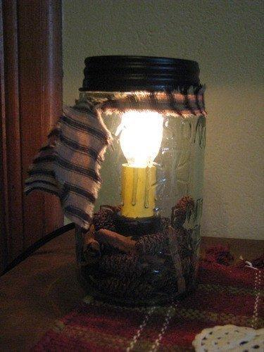 Pint Mason Jar Candle Lamp - Primitive Star Quilt Shop