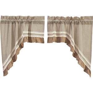 Kendra Stripe Black Lined Swag Curtains