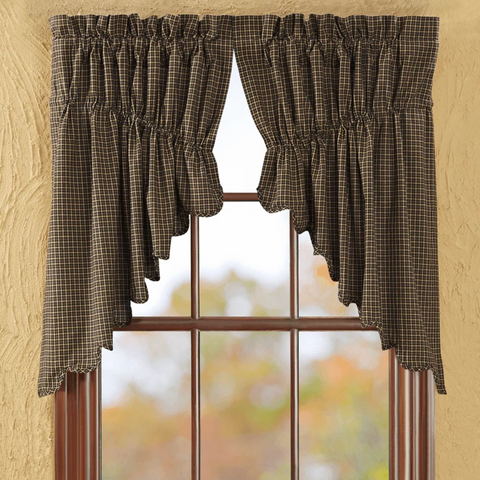 Kettle Grove Scalloped Lined Prairie Swag Curtains